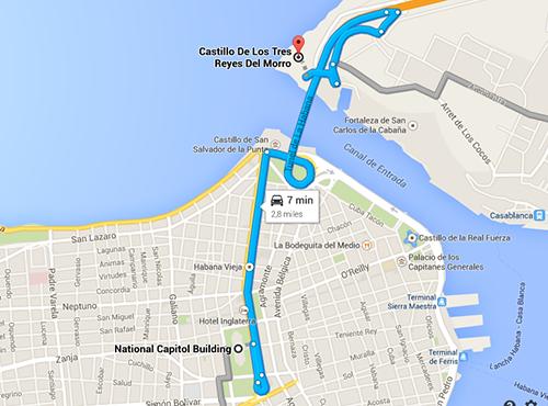 Cartina dal centro al Morro