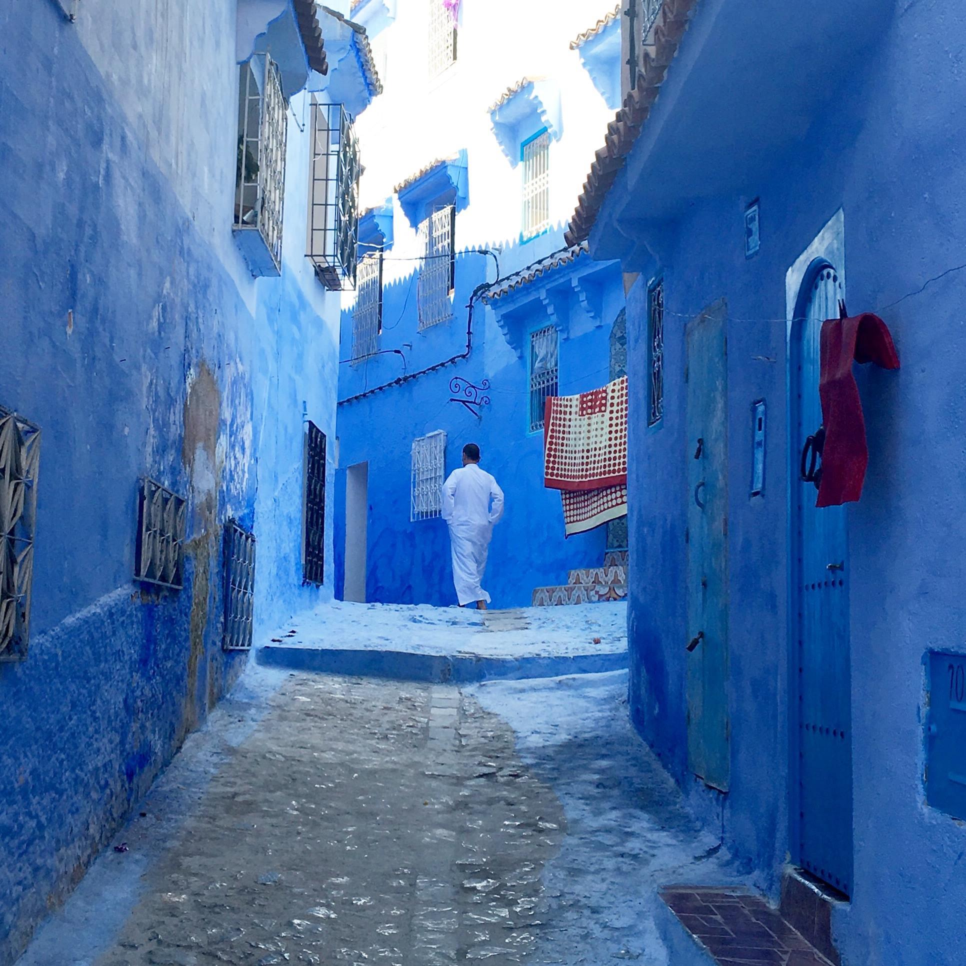 strade città blu Marocco