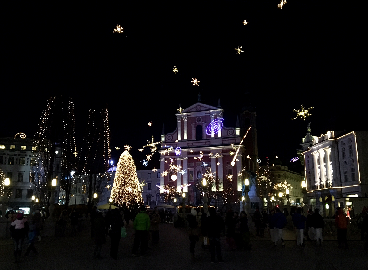luci di natale a Lubiana